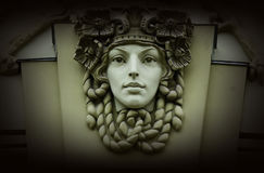 Beautiful woman head,old architectural decoration,art nouveau Royalty Free Stock Image