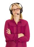 Beautiful woman with head set Royalty Free Stock Photography