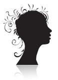 Beautiful woman, head silhouette Stock Photos