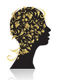 Beautiful woman, head silhouette Stock Images