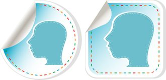 Beautiful woman head silhouette. sticker set Stock Images