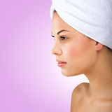 Beautiful woman, head towel, profile picture Stock Photography