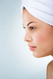 Beautiful woman, head towel, profile picture Stock Photo