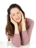 Beautiful woman with headache royalty free stock photos