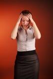 Beautiful woman headache Stock Image