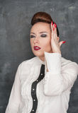 Beautiful woman with headache stock image