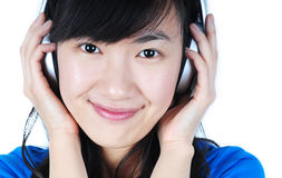 Beautiful  Woman with Headphone Royalty Free Stock Photo