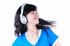 Beautiful  Woman with Headphone Stock Photo