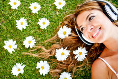 Beautiful woman with headphones Royalty Free Stock Image