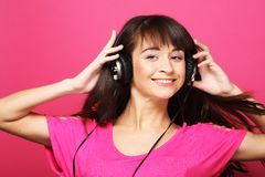 Beautiful woman with headphones Royalty Free Stock Photography