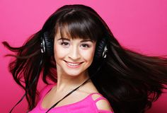 Beautiful woman with headphones Stock Image