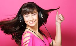 Beautiful woman with headphones Stock Photo