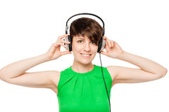 Beautiful woman with headphones listening to good music Royalty Free Stock Photo