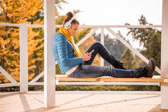 Beautiful woman in headphones Royalty Free Stock Image