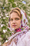 Beautiful woman in a headscarf Royalty Free Stock Photography