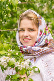 Beautiful woman in a headscarf. On blurred background Stock Images