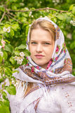 Beautiful woman in a headscarf Stock Images