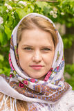 Beautiful woman in a headscarf Royalty Free Stock Photos