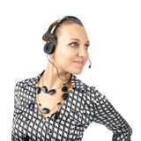 Beautiful woman with headset Royalty Free Stock Photography