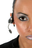 Beautiful Woman with Headset. Beautiful 23 year old Bulgarian woman with communication headset Royalty Free Stock Photo