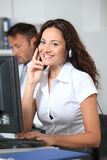 Beautiful woman with headset on Royalty Free Stock Photos