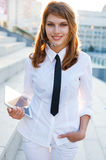 Beautiful woman with headset. Call center. Customer support. Helpdesk. Royalty Free Stock Images