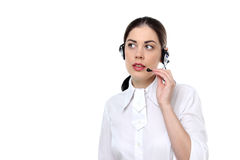 Beautiful woman with a headset Stock Photos