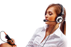 Beautiful woman with headset smiling Royalty Free Stock Photos