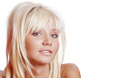 Beautiful woman headshot. Portrait of Young beautiful woman isolated on white Royalty Free Stock Image