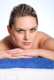 Beautiful woman in health spa for beauty treatment stock photos