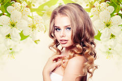 Beautiful Woman on Healthy Background Royalty Free Stock Photo