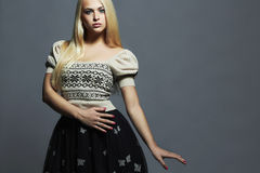 Beautiful Woman with healthy hair in dress.Beauty Blond Girl Royalty Free Stock Image