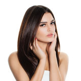 Beautiful Woman with Healthy Hair Isolated. On White. Hair Care and Skin Care Stock Photos