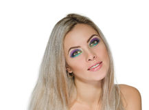 Beautiful woman with healthy long blond hair Stock Images