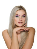 Beautiful woman with healthy long blond hair Stock Image