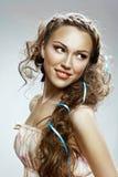 Beautiful woman. Healthy Long Curly Hair royalty free stock photos