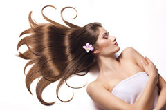 Beautiful woman with healthy long hair. Stock Photo