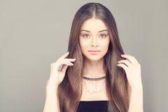 Beautiful Woman. Healthy Skin and Brown Hair Stock Images