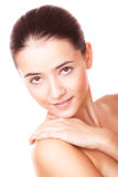 Beautiful woman with healthy skin. Closeup face beautiful woman with healthy clean skin Royalty Free Stock Image