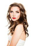 Beautiful Woman. Healthy Skin, Curly Hair and Makeup Royalty Free Stock Images