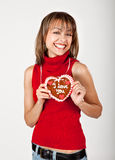 Beautiful woman with a heart Royalty Free Stock Photos