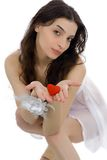 Beautiful woman and heart Royalty Free Stock Image