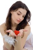Beautiful woman and heart Royalty Free Stock Photo