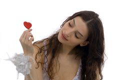 Beautiful woman and heart Stock Images