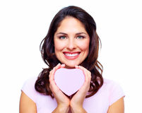 Beautiful woman with a heart box. Stock Photos