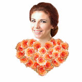 Beautiful Woman with Heart Flower Royalty Free Stock Photography