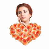Beautiful Woman with Heart Flower Stock Photos