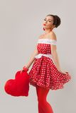 Beautiful woman with heart. Pin-Up Retro Style Royalty Free Stock Images