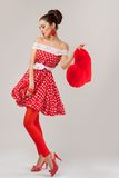 Beautiful woman with heart. Pin-Up Retro Style Stock Images