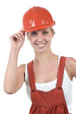 Beautiful woman with helmet Stock Image